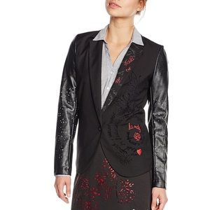 Desigual Embroidered Faux Leather Blazer Jacket